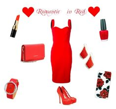 """""""Romantic in Red"""" by stargirl234 ❤ liked on Polyvore featuring Victoria Beckham, Dolce&Gabbana, Bobbi Brown Cosmetics, OPI, Kendra Scott, Givenchy, Sonix, red and romantic"""