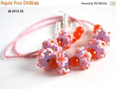 On Sale Pink Flower Beaded Necklace Handmade by polymerclaybeads