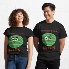Funny You're One In A Melon Design. For Valentine's Day or anytime. Great for apparel, accessories or decor. For more cute designs visit  grandpastees.redbubble.com. #oneinamelon #valentine #gift #redbubble #findyourthing