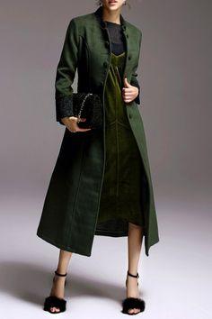 Belted Skirted Woolen Coat - GREEN XL