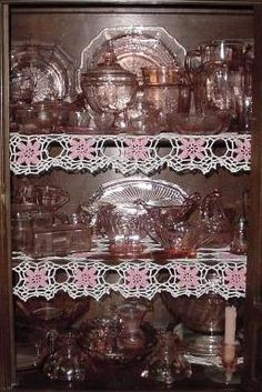Depression glass is glassware created during the Great Depression in both clear glass and several different colors. It was often quite inexpensive and even given away as premiums. In time these pieces of glass have become quite collectible. And pink is the probably the most sought after color.
