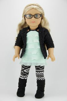 American Girl doll clothes  Black and mint by DolliciousClothes