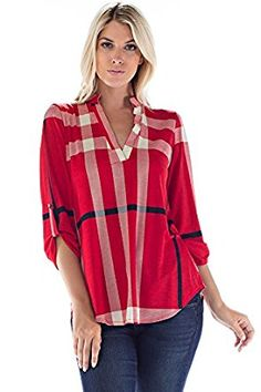 b8eaa109b16e53 Betsy Red Couture Women And Plus Size Notch Neck Tunic Top at Amazon  Women's Clothing store: