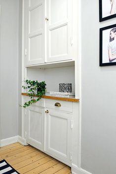 Shelves cornices and white hallway shelf, hallway cupboards, hallway cabine Living Room Cupboards, Hallway Cupboards, Alcove Cupboards, Living Room Built Ins, Living Room Storage, Built In Cabinets, Bedroom Storage, My Living Room, White Cabinets
