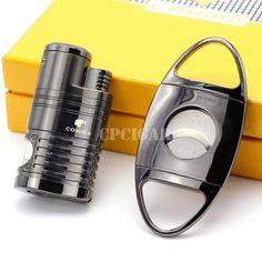 Windproof 4 Flame Lighter & Cutter