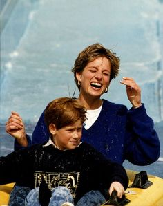 Princess Diana and Prince Harry at Thorpe Park.