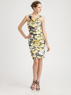 Carmen Marc Valvo - Ruched Silk Dress - Saks.com #SaksLLTrip