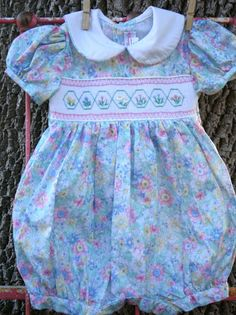 FREE SHIPPING-Vintage Smocked Girl's Bubble Dress. $25.00, via Etsy.