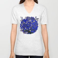 Van gogh Digital Abstract Daisy blue background Unisex V-Neck T-Shirt #unisex #vneck #tshirt #clothing #abstract #vangogh #paintings #starrynight #starry #night #abstractpainting #pattern #popart #blue #red #bluedaisy