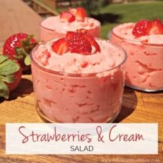 Sweet strawberries paired with a creamy, vanilla flavored base. Strawberries & Cream Salad is aneasy make ahead dish, perfect for any meal.