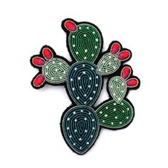 Embroidered Cactus Brooch - Large @ Howkapow