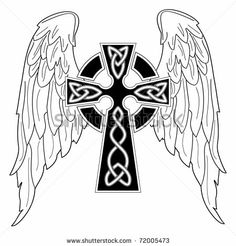 Black cross with wings on white by Eucharis, via Shutterstock