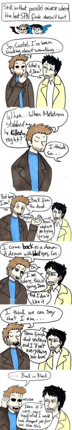 """Still in that parallel universe where the last SPN finale doesn't hurt..."" ||| Demon!Dean and Castiel ||| Supernatural Fan Art by polyglotplatypus"