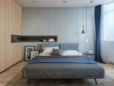 Twin minimalistic backgrounds create space and interest in the bedroom. A thin…