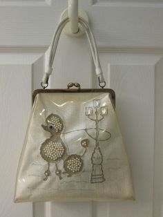 1950s window purse with poodle, embellished with faux pearls and faux gems