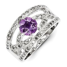 Sterling Silver Diamond and Amethyst Ring