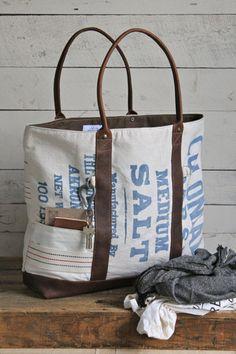 Extra Large 1950's era Salt Bag Carryall - FORESTBOUND