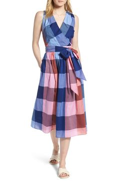 Plaid Cotton Wrap Style Dress,                         Main,                         color, Pink- Blue Plaid