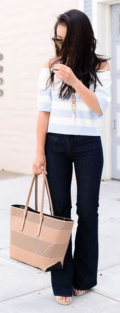 Striped Off Shoulder Top by The Fancy Pants Report