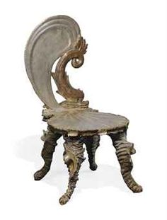 A VENETIAN CARVED, GILT AND SILVERED WOOD GROTTO CHAIR  OF ROCOCO STYLE, LATE 19TH CENTURY  Images
