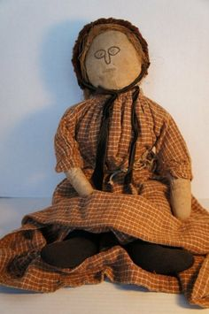 "Anitque cloth doll with a great face  22"" flax hair"
