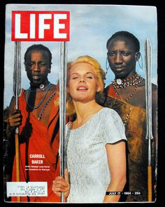 Carroll Baker with Masai LIFE magazine cover 1964