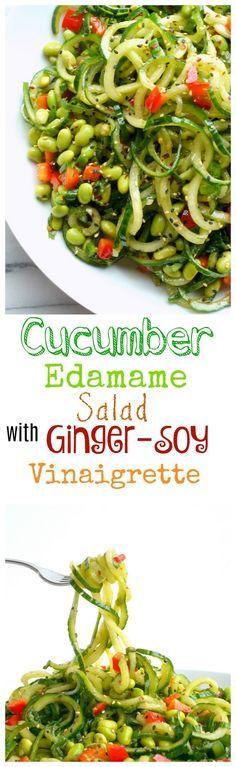 Cucumber Edamame Salad with Ginger-Soy Vinaigrette from NoblePig.com