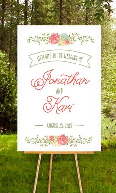 Rustic Wedding Sign with Laurel Wreath  by ExpressPress on Etsy