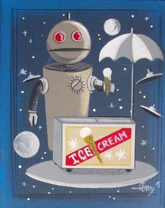 EL GATO GOMEZ PAINTING RETRO 1950S ROBOT KITSCHY OUTER SPACE ROCKET SHIP SCI-FI  #Modernism