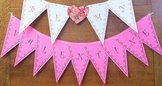 Create a custom Printable Valentine Banner for kids from ActivitiesForKids.com.  Free printable where you can select the banner shape and add any letters or numbers.