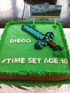 - Minecraft diamond sword birthday cake.  Large square pan.  Buttercream icing with marshmallow fondant letters.