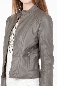 grey faux leather jacket.