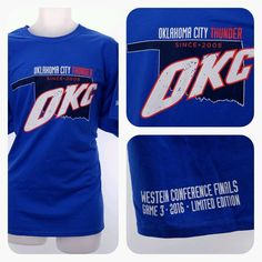 NBA OKC THUNDER XL Shirt 2016 Playoff VS WARRIORS Game 3 Conference Finals Blue #Gildan #OklahomaCityThunder