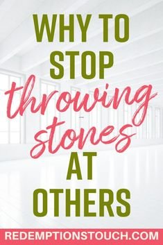 Throwing Stones is a term used for judging or condemning other people for their sins or mistakes. In the Bible, we learn we should not judge others but we should also show them grace and compassion. Christian Living, Christian Life, Christian Quotes, Jesus Teachings, Common Quotes, How To Be Graceful, Finding Jesus, Judging Others, Christian Inspiration