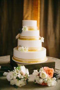 Gold Ranch Wedding by Josh McCullock - Southern Weddings Gold And White Cake, Gold Cake, White Gold, 3 Tier Wedding Cakes, Wedding Cake Designs, Wedding Ideas, Cupcakes, Cupcake Cakes, Apricot Wedding