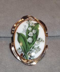 Vintage Lily of the Valley~White Porcelain Framed Oval Gold Tone Brooch Pendant