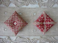 Toile de lin et petites croix: Broderie