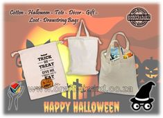 Halloween Loot Trick or Treat Bags - Eco friendly Biodegradable Compostable Cotton Drawstring Tote Bags. Paint Embroider or Screen Print them. Halloween Traditions, Halloween Activities, Halloween Crafts, Happy Halloween, Origin Of Halloween, Scary Decorations, Diy Party Decorations, Halloween Decorations
