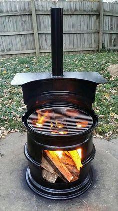 BBQ garden fire made from car tire rims!