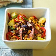 This quick, easy dinner recipe is a full meal deal. Apple juice adds a splash of sweetness to #couscous served with grilled sirloin #steak and #vegetables.