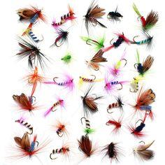 36 unids Promoción Señuelos Anzuelos de pesca Con Mosca Trucha Salmón Moscas Insectos Estilo Mariposa Sola Seco Pesca Con Mosca Señuelo de la Pesca