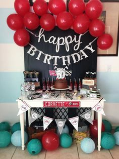 geburtstag frau notice board, red balloons, a garland, a chocolate cake with candles, birthday woman Cars Birthday Parties, Man Birthday, Birthday Party Decorations, Party Themes, Happy Birthday, Birthday Cake, Party Ideas, Decoration Party, Gift Ideas