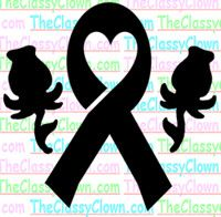 Cancer ribbon with heart & roses glitter tattoo stencil...  Made for our Relay for Life volunteer events.. <3