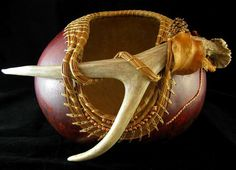 Forest Finery  Antler and Pine Needle Coiling by GourdsInCostume