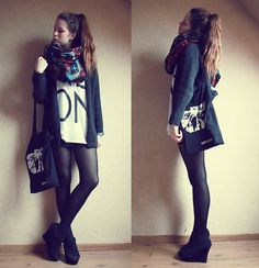 bulky scarf, tights, and those heels!