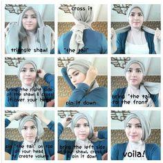 Tutorial by zahratul jannah Tutorial Hijab Pesta, Hijab Style Tutorial, Muslim Fashion, Hijab Fashion, Beau Hijab, Turban Tutorial, Simple Hijab, Modele Hijab, Turban Hijab