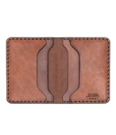 A simple leather card holder constructed with high quality vegetable tanned leather (from one of the oldest tanneries in the US). The wallet is sewn by h Leather Wallet Pattern, Handmade Leather Wallet, Leather Card Wallet, Leather Gifts, Stitching Leather, Leather Craft, Bag Patterns To Sew, Pattern Sewing, Tote Pattern