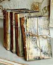Turn Trashy Books Into Treasured Items is part of Book crafts - How to use old books for decor, Cece caldwells omaha ochre paint and aging cream plus el dorado gold wax transform them to antiques Books Decor, Rose Gold Painting, Old Book Crafts, Craft Books, Annabeth Chase, Painted Books, Look Vintage, Book Projects, Diy Projects