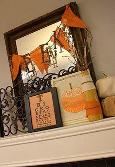 52 Mantels: Earthy Orange & Cream Halloween Mantel