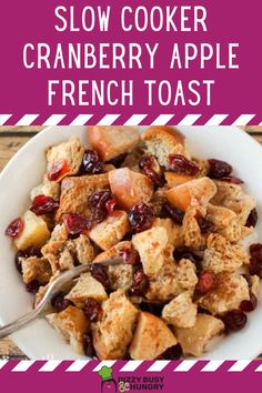 Easy French Toast made in your Slow Cooker is a fun way to eat Sunday Brunch #dizzybusyandhungry #brunch #sunday #frenchtoast #slowcooker
